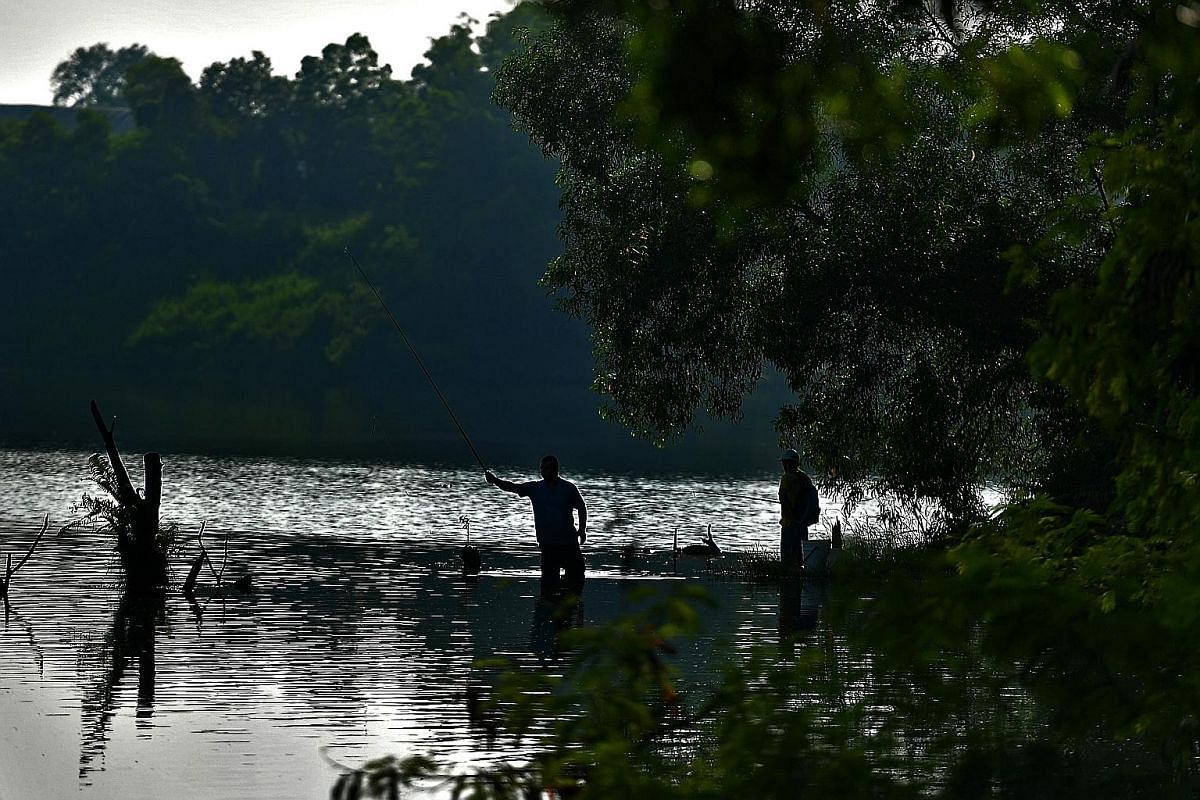 The quiet, calm waters of the lake are a draw for speedhunters David Tey (far left), 68, and Jacky Ho, 47, who can often be found racing their remote- controlled boats in the lake on weekends. The duo are part of Quarry Boats, an RC boat group that c