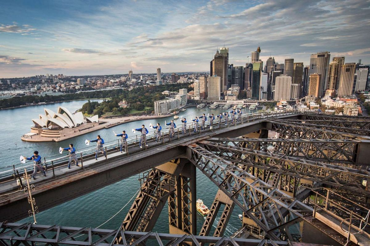 The Sydney Harbour Bridge and the Australian Academy of Tai Chi and Qigong hosts the first Tai Chi martial arts class over Australia's largest city, May 2, 2017.