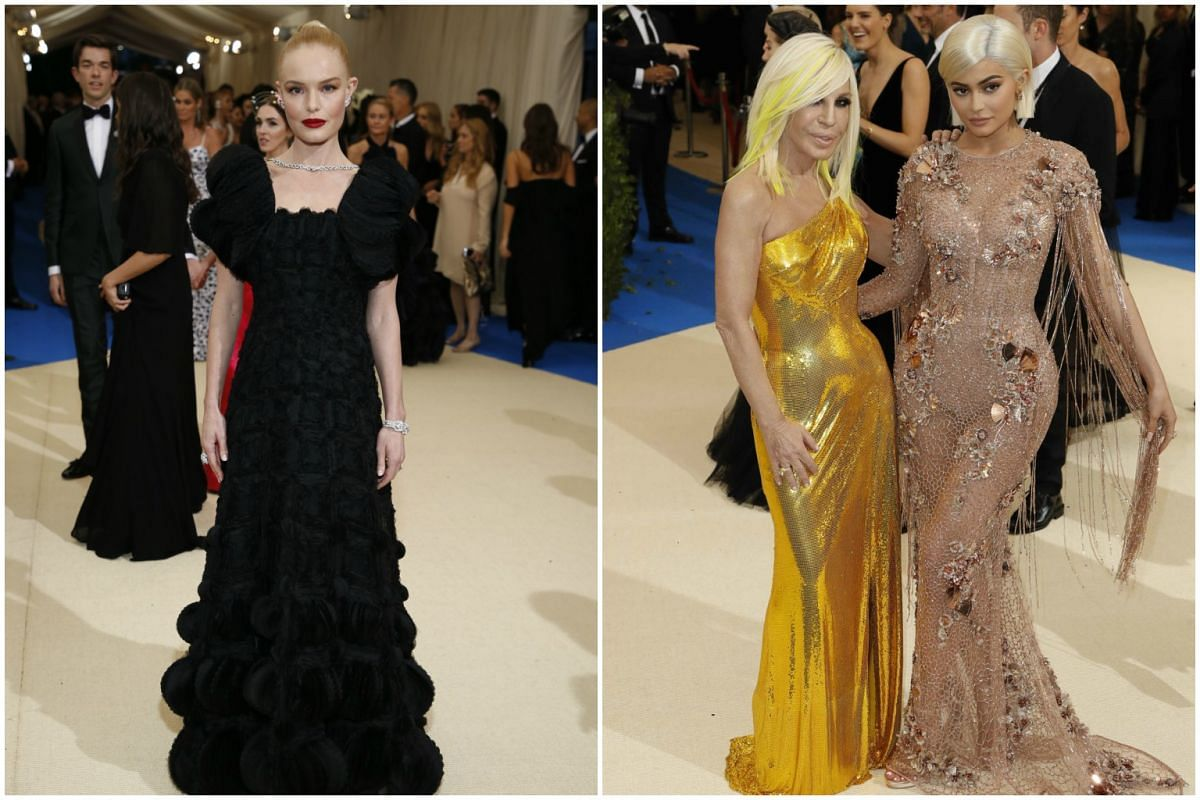 From left: Actress Kate Bosworth,  fashion designer Donatella Versace,  and television personality Kylie Jenner arrive at the Gala.