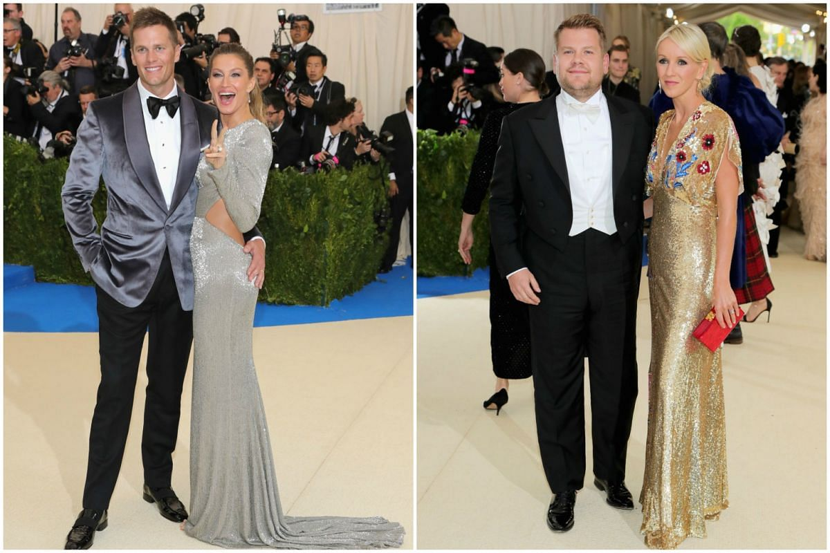 Left:  New England Patriots NFL quarterback Tom Brady with wife Gisele Bundchen. TV show host  James Corden and his wife Julia Carey.