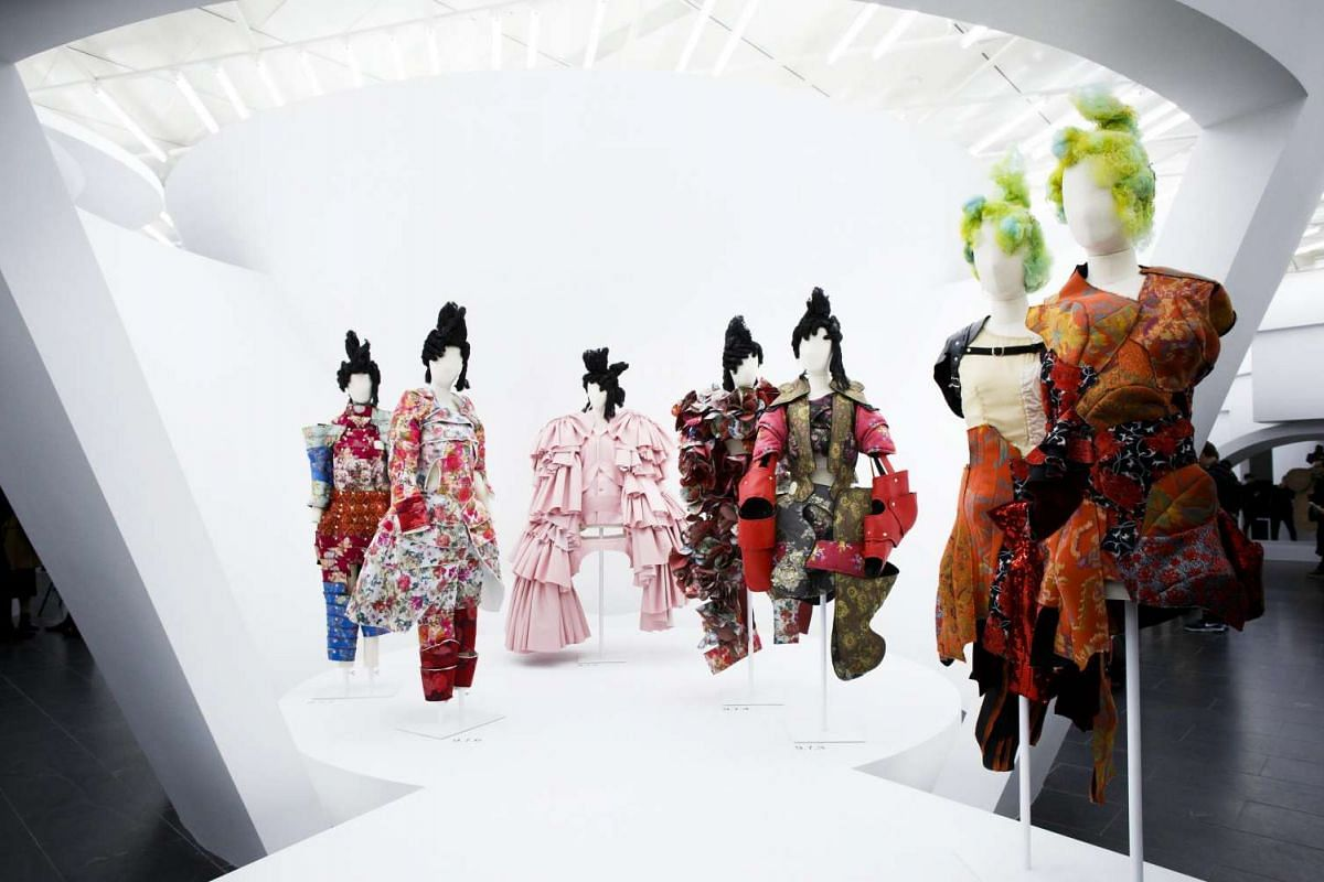 Designs by Japanese fashion designer Rei Kawakubo are displayed at the Costume Institute exhibit Rei Kawakubo/Comme des Garcons: Art of the In-Between.