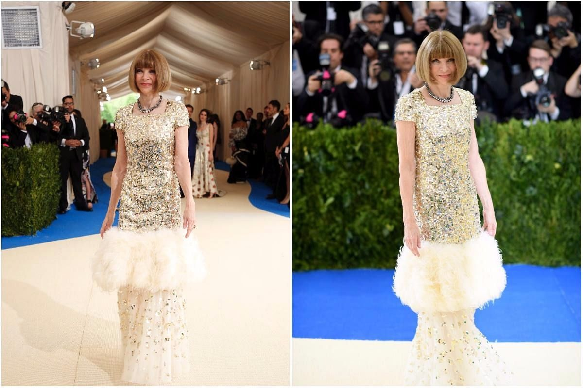 Co--chair of the Met Gala and editor-in-chief of Vogue US Anna Wintour arrives at the Gala.