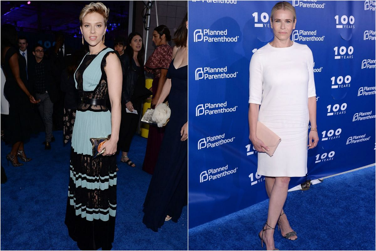 Actress Scarlett Johansson (left) looking feminine in an Elie Saab dress and TV host Chelsea Handler in a short white dress.