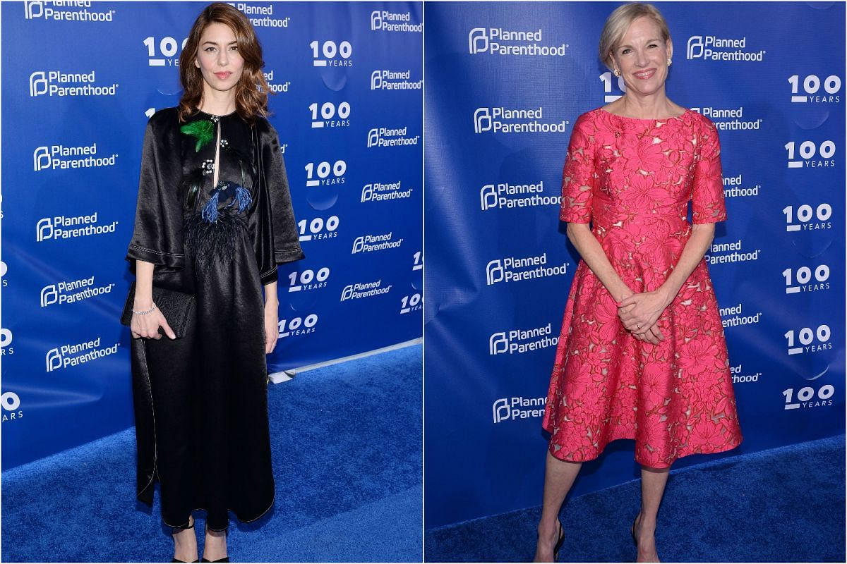 Director Sofia Coppola (left) in a long black dress while Planned Parenthood Federation of America president Cecile Richards opts for a short red dress.