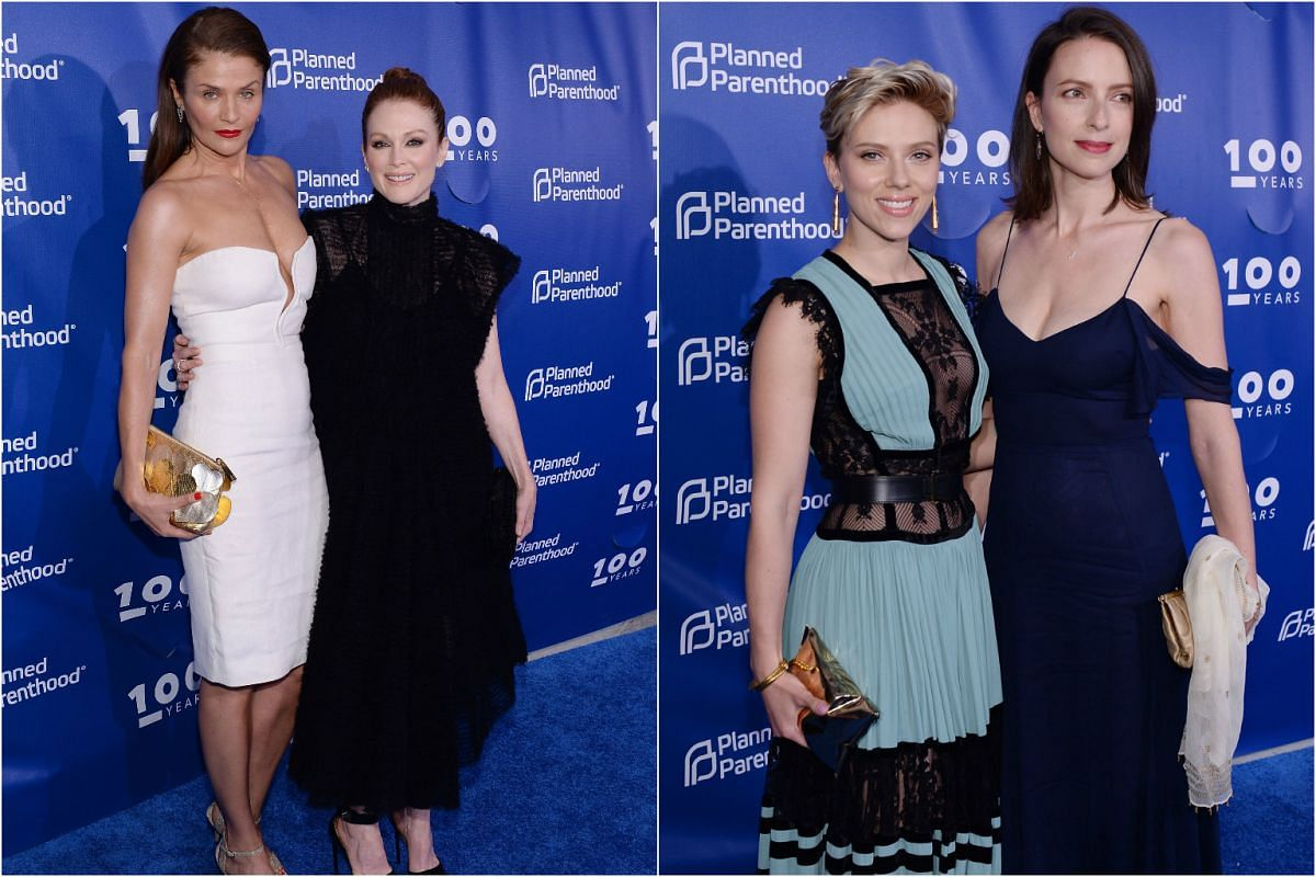 (From left) Model Helena Christensen and actress Julianne Moore are monochrome buddies in their white and black outfits, while actress Scarlett Johansson poses with her sister Vanessa, who is also an actress.