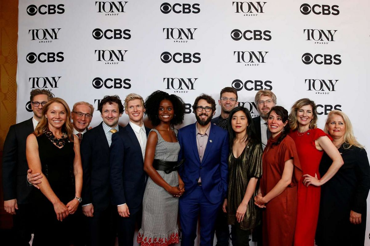 Nominees for the Broadway musical Natasha, Pierre & The Great Comet of 1812 pose together during arrivals.