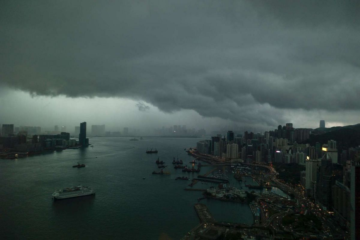 Clouds gather over the Hong Kong skyline on May 4, 2017.