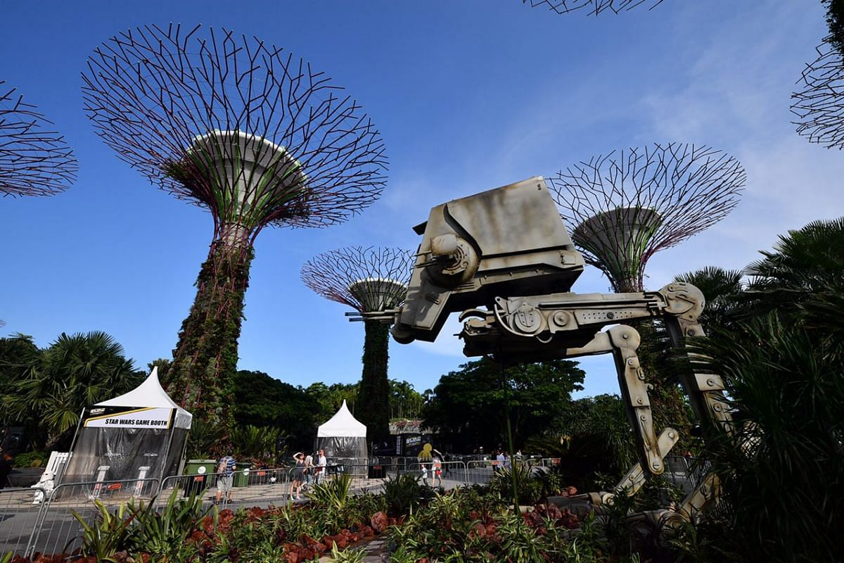 The towering replica of the All-Terrain Scout Transport (AT-ST) at the Supertree Grove at Gardens by the Bay.