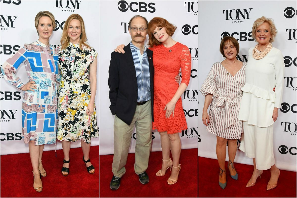 Two's company as (from left) nominees Cynthia Nixon, Laura Linney, David Hyde Pierce, Kate Baldwin, Christine Ebersole and Patti LuPone arrive on the red carpet.