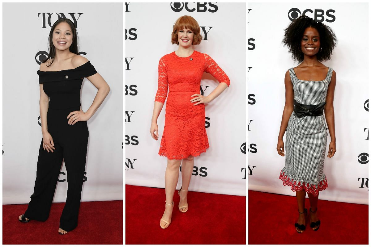 (From left) Best Actress nominees Eva Noblezada for Miss Saigon, Kate Baldwin for  Hello, Dolly! and Denee Benton for Natasha, Pierre & The Great Comet Of 1812 on the red carpet.