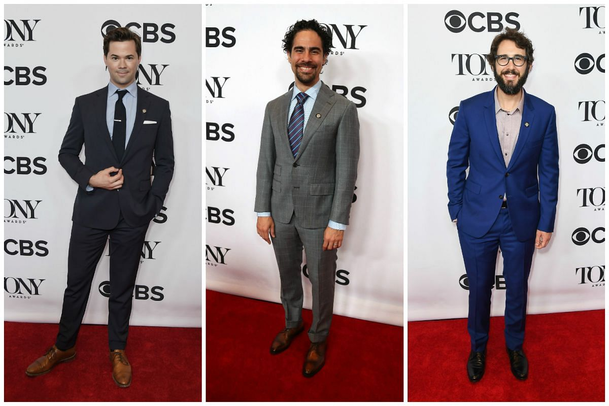 (From left)  Best Actor nominee Andrew Rannells for Falsettos, Alex Lacamoire, nominated for Best Orchestrations for Dear Evan Hansen and Best Actor nominee Josh Groban for Natasha, Pierre & The Great Comet Of 1812 looking snazzy in suits.