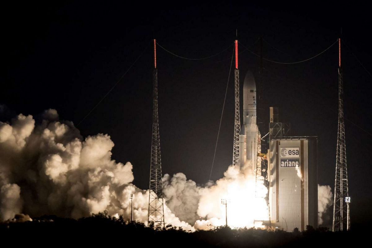 An Ariane 5 rocket lifts off from the French Guiana Space Center with Brazilian and South Korean satellites on board, May 4, 2017 in Kourou, Frencg Guiana. The satellite launch was delayed since March 20th due to a crippling general strike in French