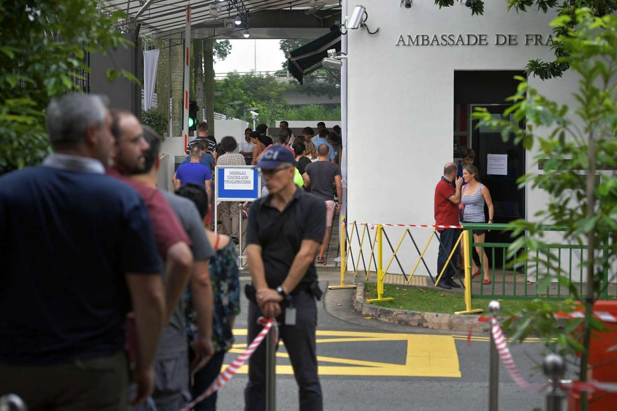 French citizens queueing up to vote at the French Embassy in Singapore, on May 7, 2017.