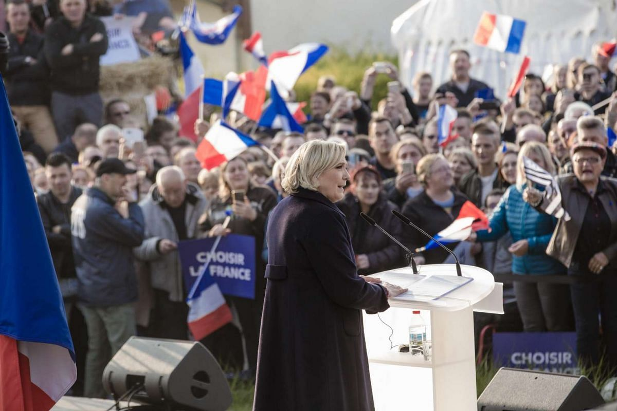 French presidential candidate Marine Le Pen at an election campaign event in Ennemain, France, on May 4, 2017.
