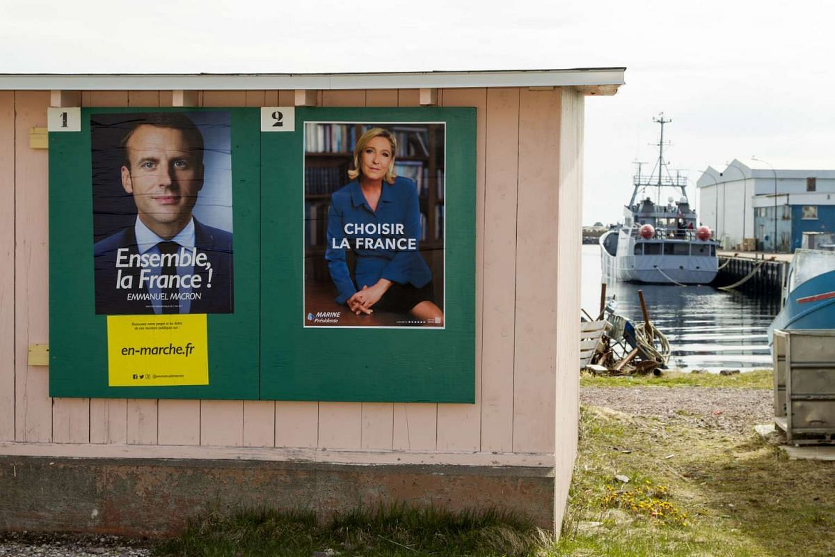 Campaign posters in the small French Caribbean island of Saint-Pierre, Martinique, on May 6, 2017.