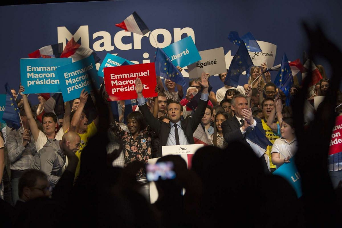 Mr Emmanuel Macron at a campaign event in Pau, France, on April 13, 2017.