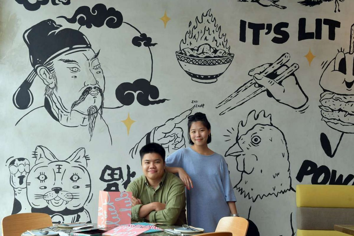 Street artists Teo Chongwah and Carmen Chen (both above) worked together to create the mural at Full Of Luck Club.