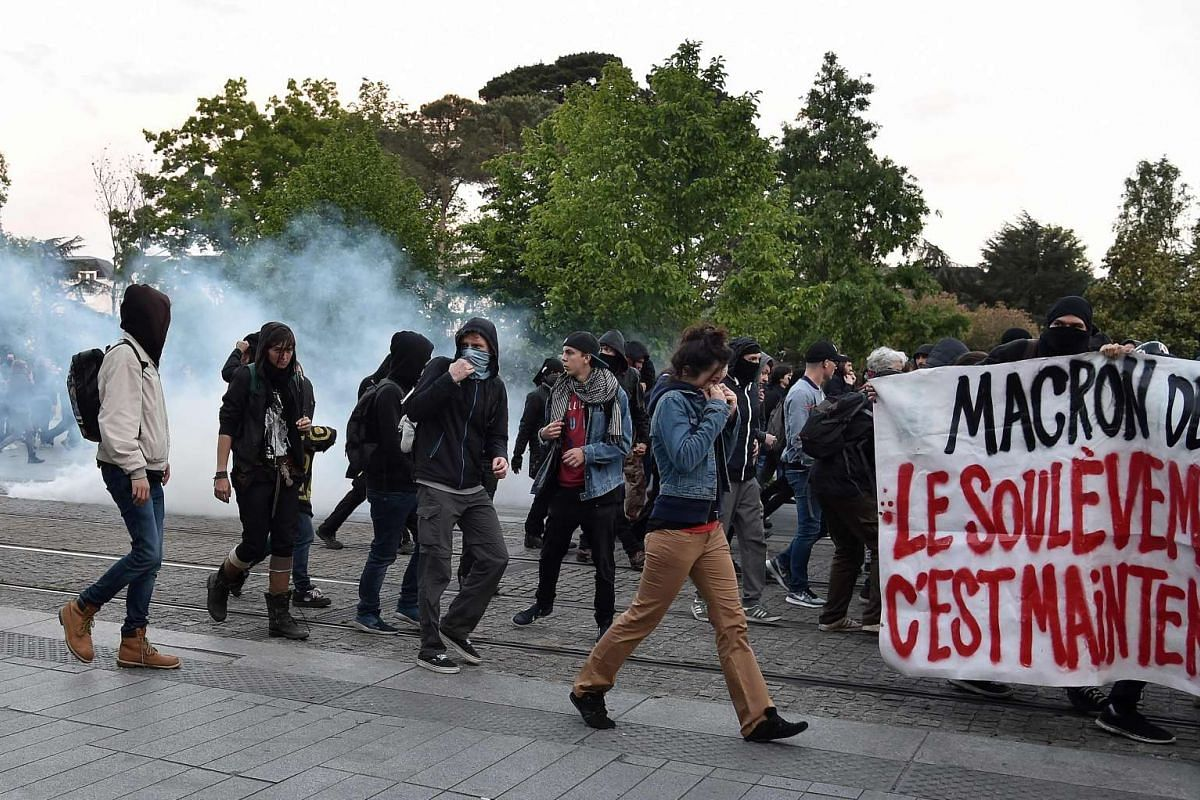 People demonstrating in Nantes following the announcement of the presidential election results.