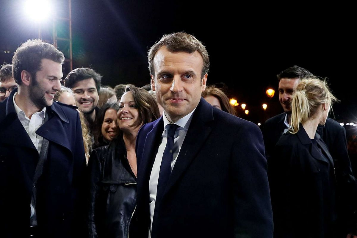French President-elect Emmanuel Macron at his victory rally near the Louvre Museum in Paris.