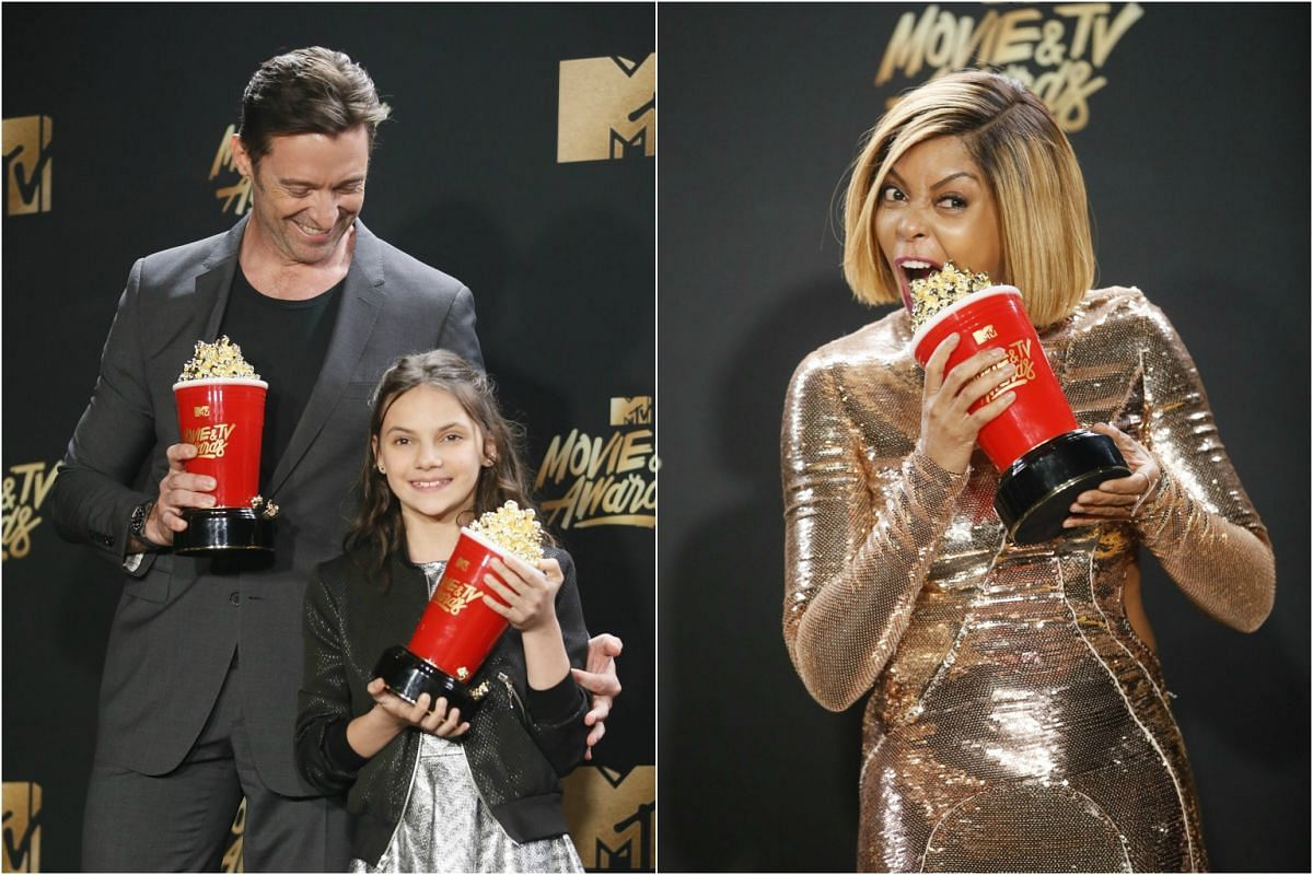 Left: Hugh Jackman and Dafne Keen with their Best Duo awards for Logan. Right: Taraji P. Henson with her Best Fight Against The System award for Hidden Figures.