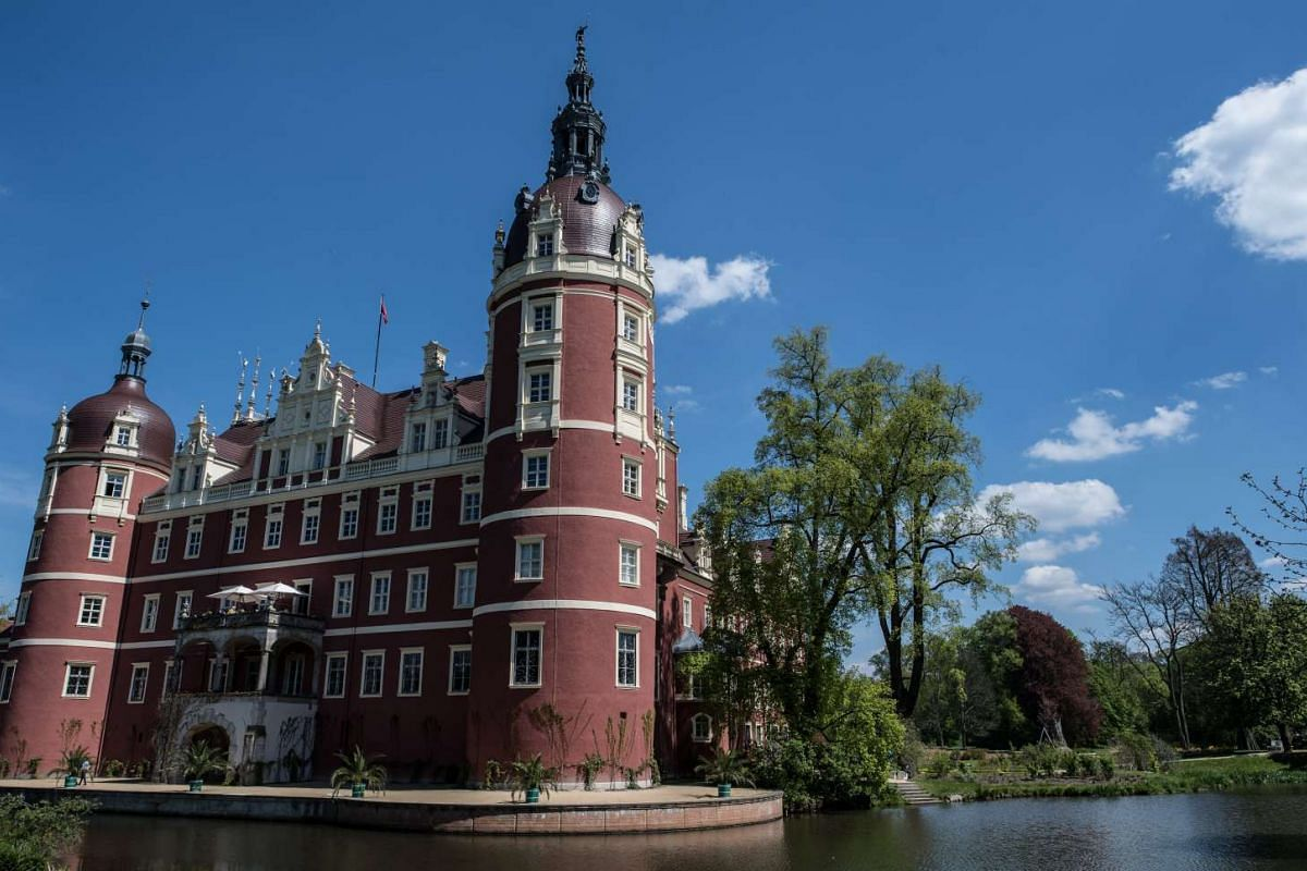 The Muskau palace, or Schloss Muskau, in the Fuerst-Pueckler-Park in Bad Muskau, Saxony, Germany.