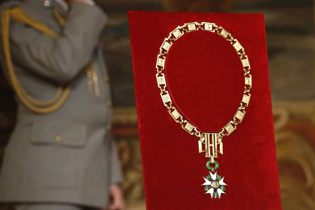 The Grand Collier in the Legion of Honor is pictured before the takeover ceremony between outgoing President Francois Hollande and president-elect Emmanuel Macron, at the Elysee Palace in Paris on May 14, 2017.