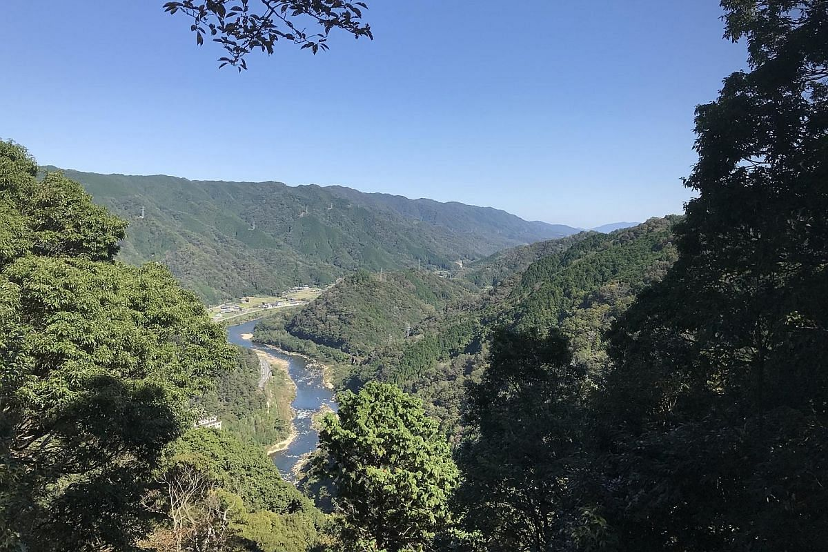(Clockwise from top) The Kizu River Valley seen from Kasagi mountain along the Tokai Shizen Hodo trail from Yagyu to Kasagi village; the Itto-seki, a mysterious stone; and Yagyu village. Cut into the towering rock faces at Kasagi mountain are various