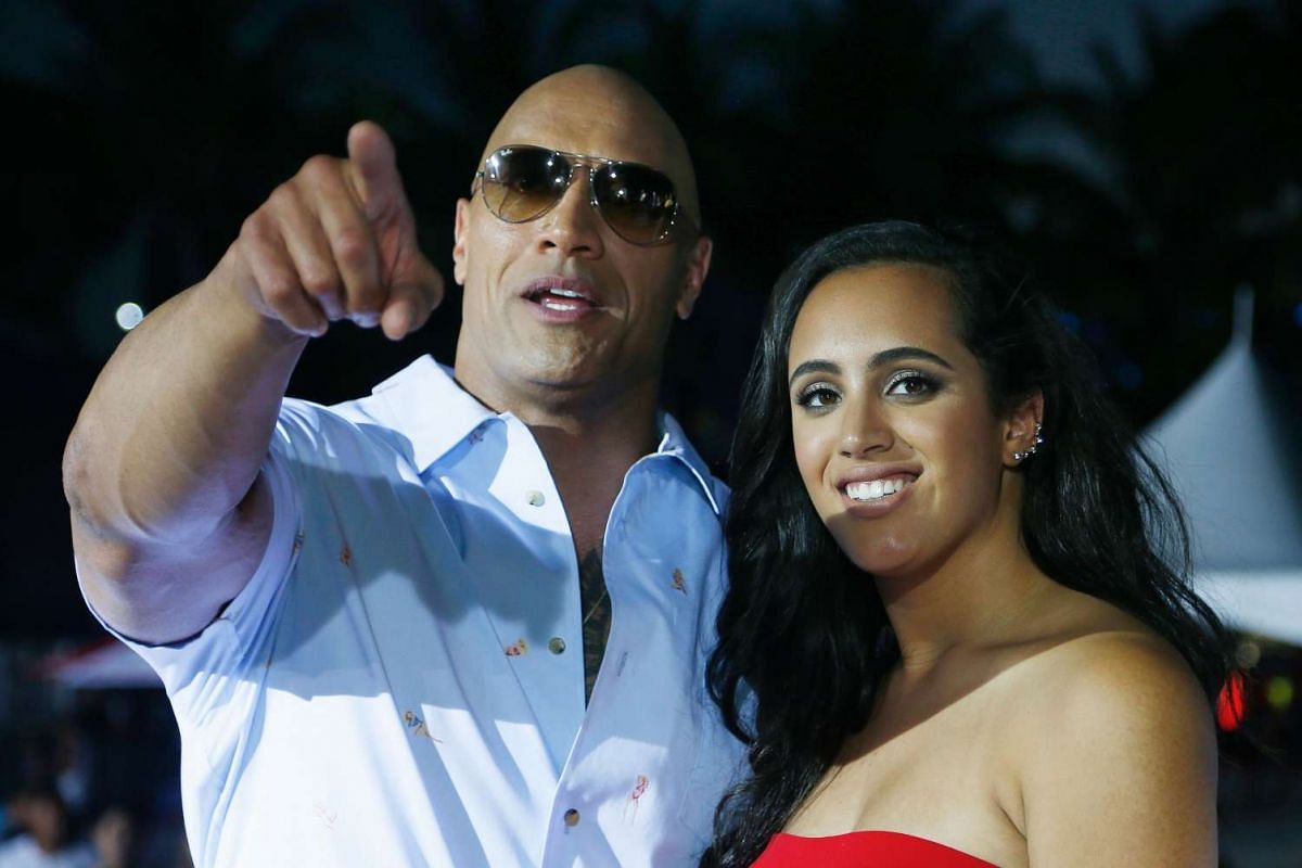 Dwayne Johnson and his daughter Simone at the premiere.