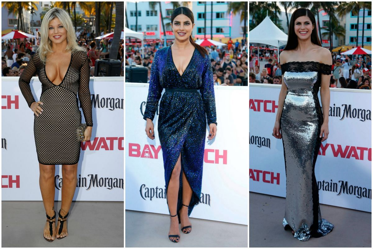 (From left) Donna D'Errico,  Priyanka Chopra and  Alexandra Daddario at the red carpet.