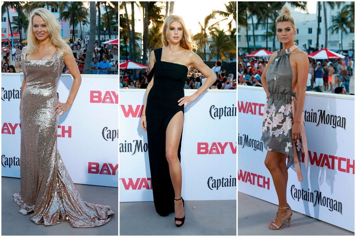 (From left) Pamela Anderson, Charlotte McKinney and Kelly Rohrbach at the premiere.