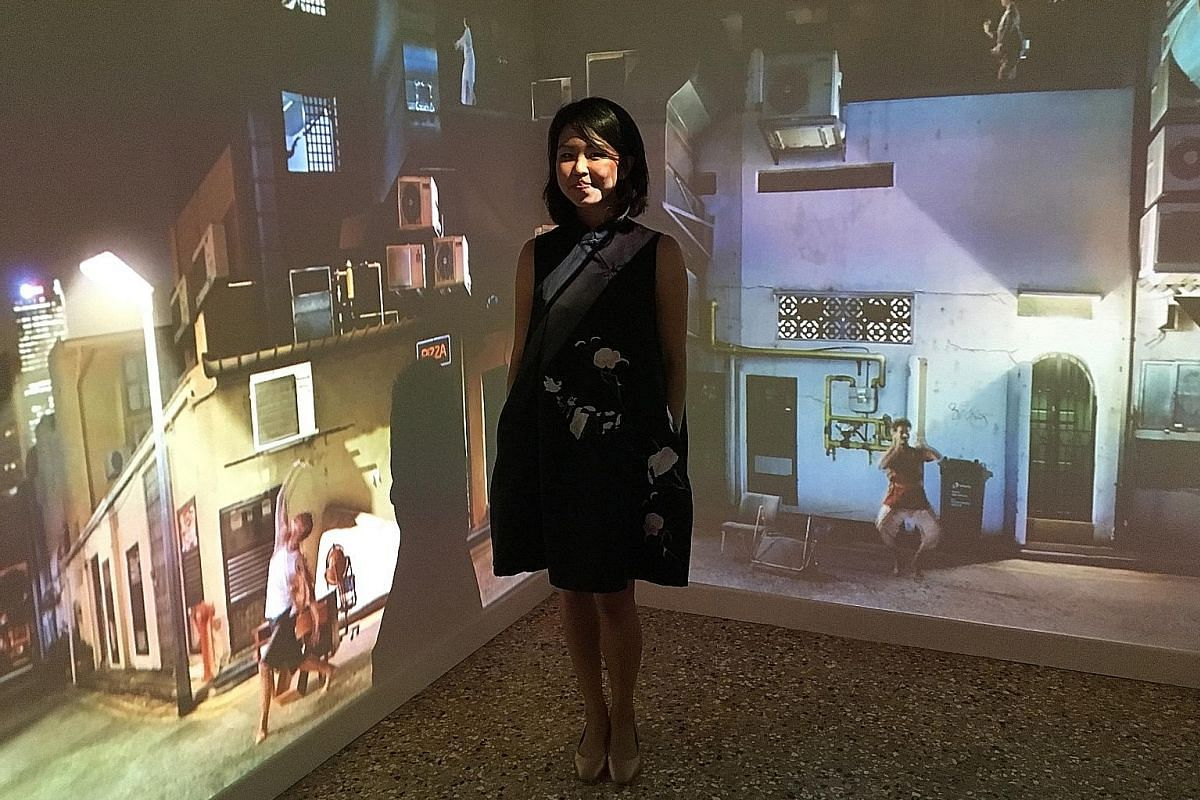 Sarah Choo Jing with her installation, Art Of The Rehearsal, which is part of the Personal Structures exhibition at the Venice Biennale.