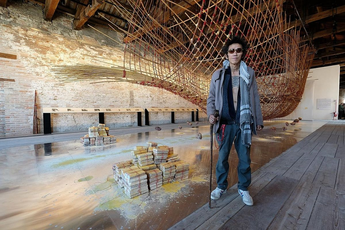 Artist Zai Kuning with his work, Dapunta Hyang: Transmission Of Knowledge. It is on show at the Singapore Pavilion at the Venice Biennale until Nov 26.