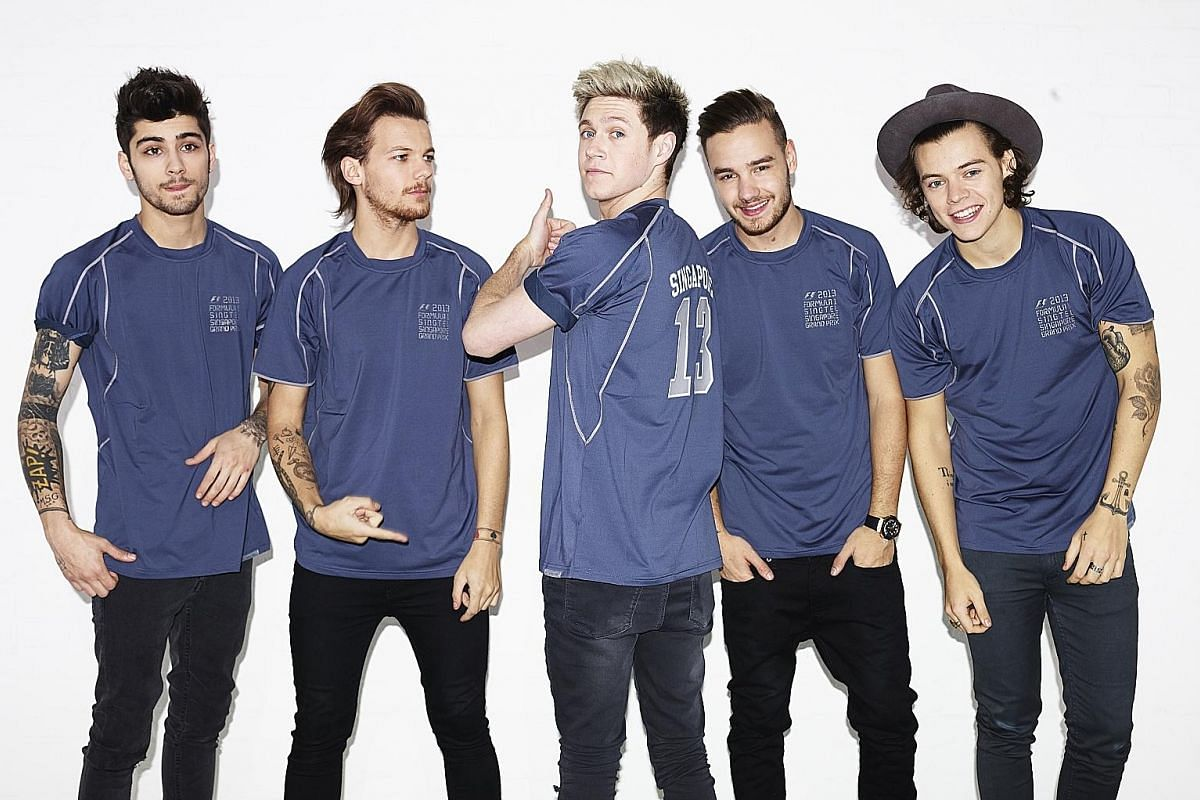 English-Irish band One Direction comprising (above, from left) Zayn Malik, Louis Tomlinson, Niall Horan, Liam Payne and Harry Styles.