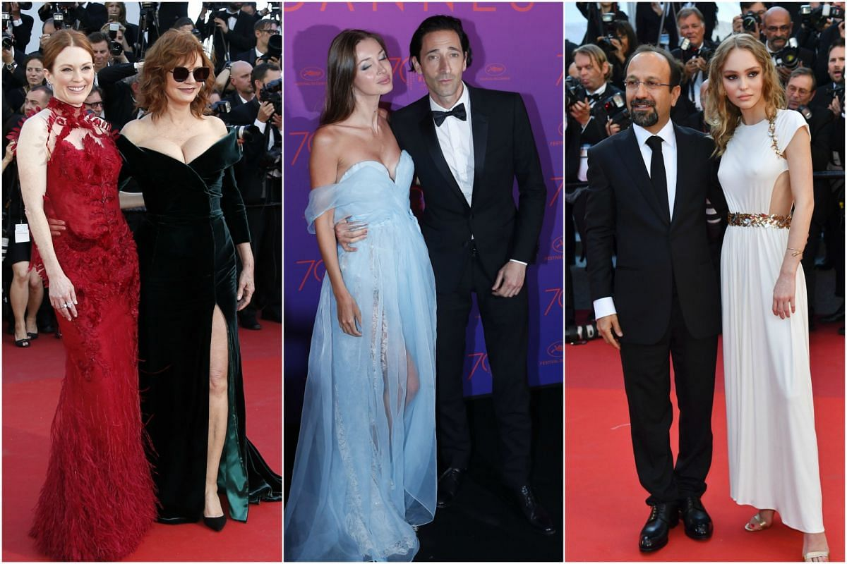 Two's company: (From left) Actresses Julianne Moore and Susan Sarandon, actor Adrien Brody and partner Lara Lieto, actress and model Lily-Rose Depp and Iranian director Asghar Farhadi.