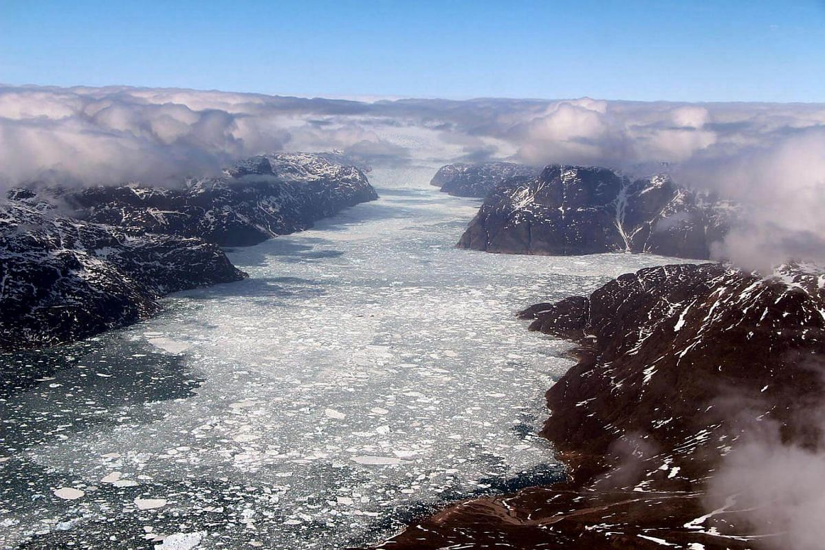 A fjord in southern Greenland during Operation IceBridge's last flight of the 2017 Arctic campaign on May 12.