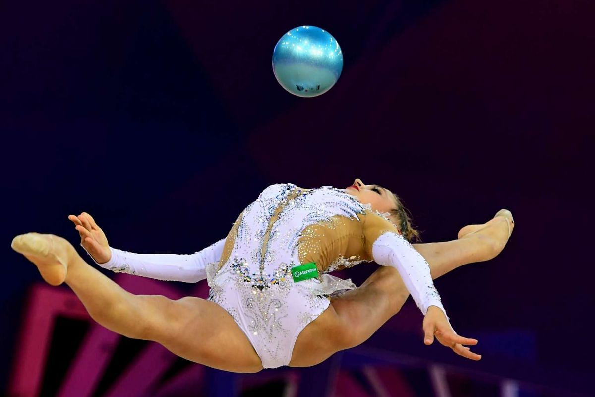 Silver medalist Russia's Aleksandra Soldatova performs with her ball performs during the 33rd Rhythmic Gymnastics European championships in Budapest, Hungary on May 21, 2017. PHOTO: AFP