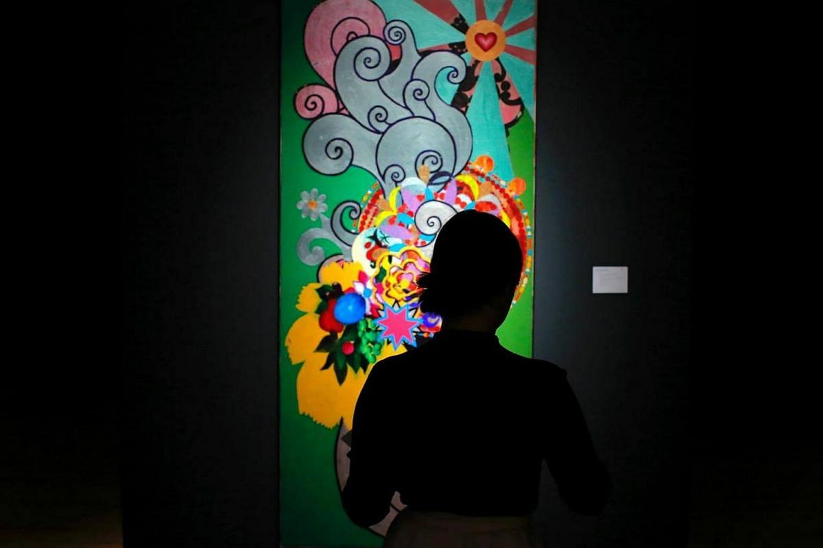 A Painting of Artist Beatriz Milhazes is displayed before a Latin American Art auction at Christie's in New York.