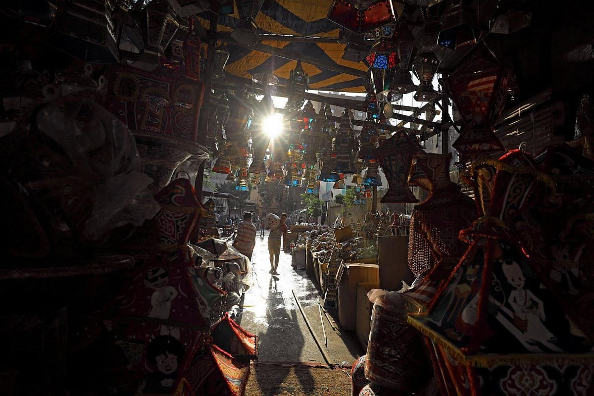 """A stall selling traditional Ramadan lanterns called """"fanous"""" is seen ahead of the Muslim holy month of Ramadan in Cairo, Egypt."""