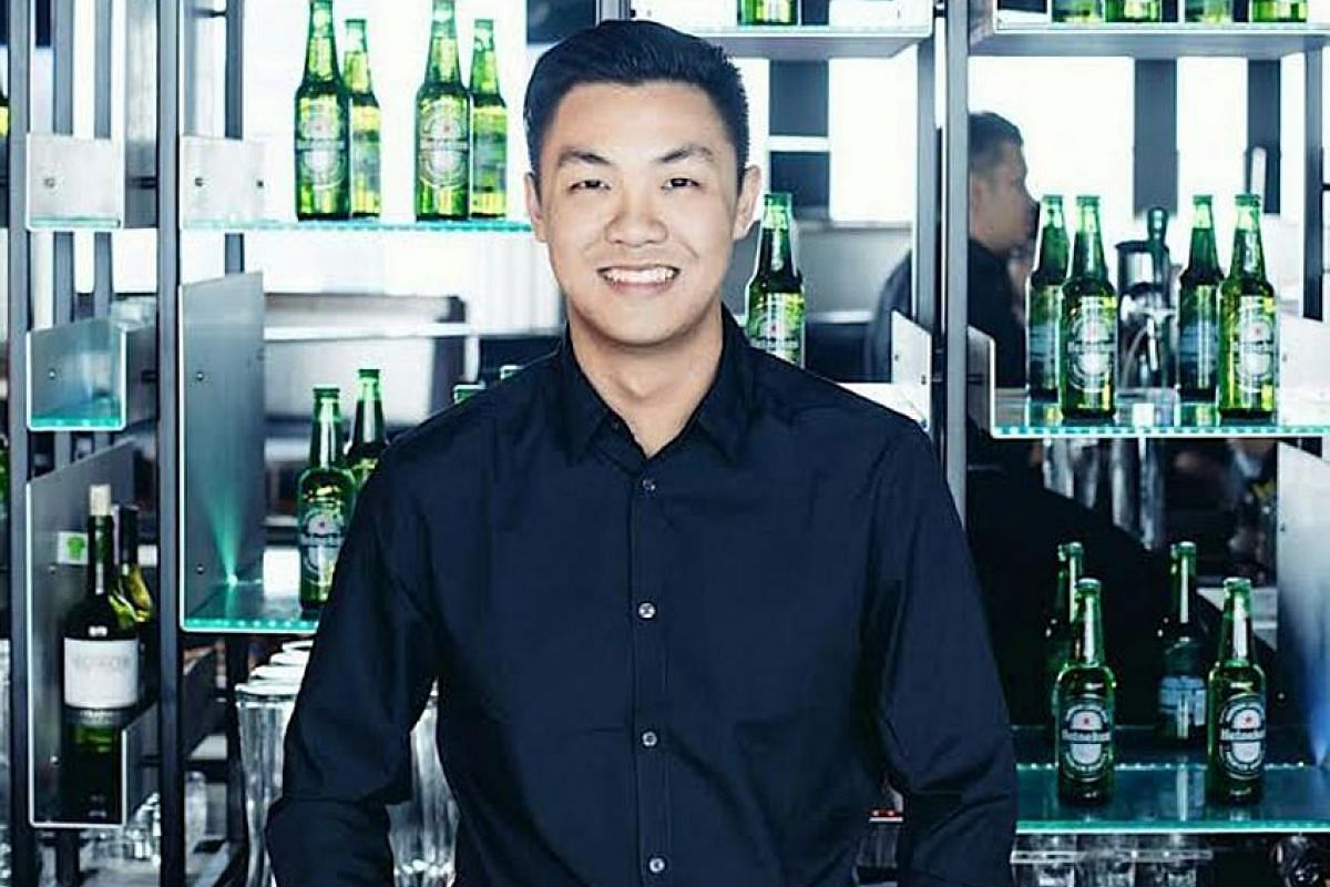Former bartender Nicholas Lau's (above) mobile bartending firm, The Shake Affinity, lets its DJs decide if they want to wear ear plugs while playing for events. Senior manager of quality, environmental, occupational health and safety Kelvin Ho (left)