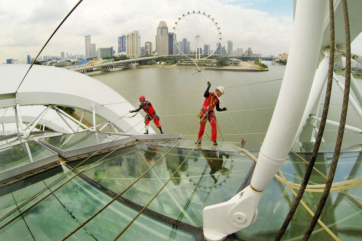 """A photo released on May 29, 2017 shows rope-access technicians, called """"Spider-Men"""", cleaning one of two conservatories at Gardens by the Bay on May 5, 2017. Each conservatory takes about a month to clean. PHOTO: JONATHAN CHOO/THE STRAITS TIMES"""