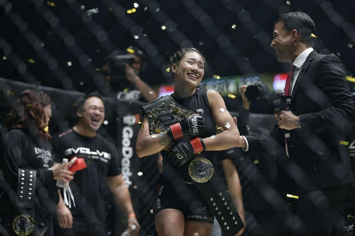 Atomweight champion Angela Lee successfully defends her title against Istela Nunes in the main event of ONE Championship's Dynasty of Heroes fight night at Singapore Indoor Stadium on May 26, 2017.