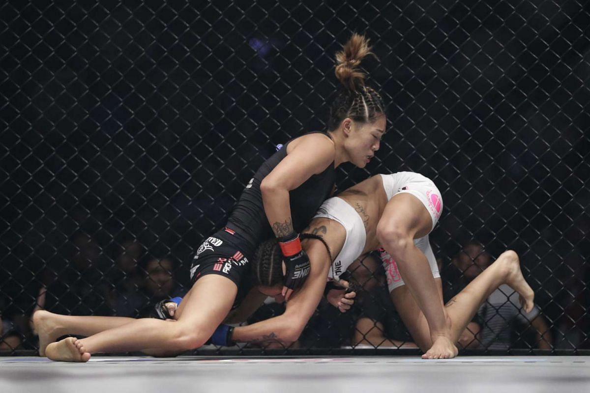Atomweight champion Angela Lee in action against Istela Nunes in the main event of ONE Championship's Dynasty of Heroes fight night at Singapore Indoor Stadium on May 26, 2017.