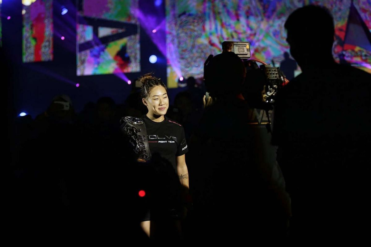 Atomweight champion Angela Lee making her way to fight Istela Nunes in the main event of ONE Championship's Dynasty of Heroes fight night at Singapore Indoor Stadium on May 26, 2017.