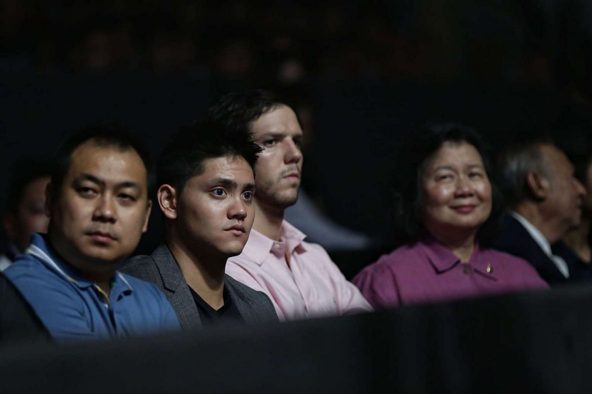 Joseph Schooling attending ONE Championship's Dynasty of Heroes fight night at Singapore Indoor Stadium on May 26, 2017.