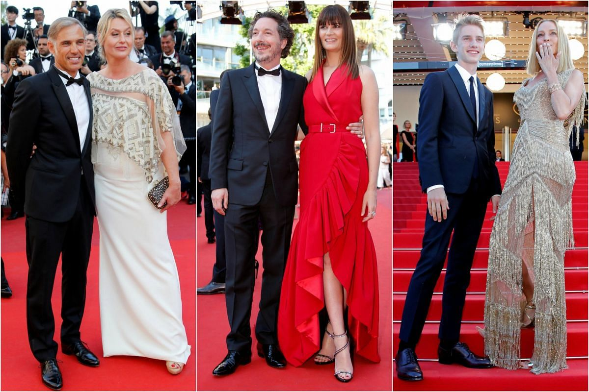 It takes two: (From left) Actor Paul Belmondo and his wife Luana, actor Guillaume Gallienne and actress Marina Hands and actress Uma Thurman with her son Levon Roan Thurman-Hawke.