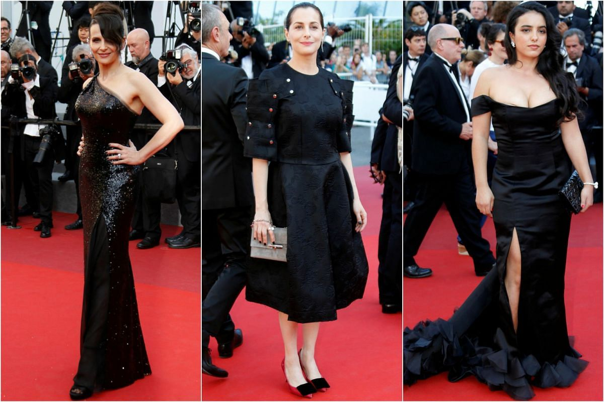 Going for black are actresses (from left) Juliette Binoche, Amira Casar and Hafsia Herzi.