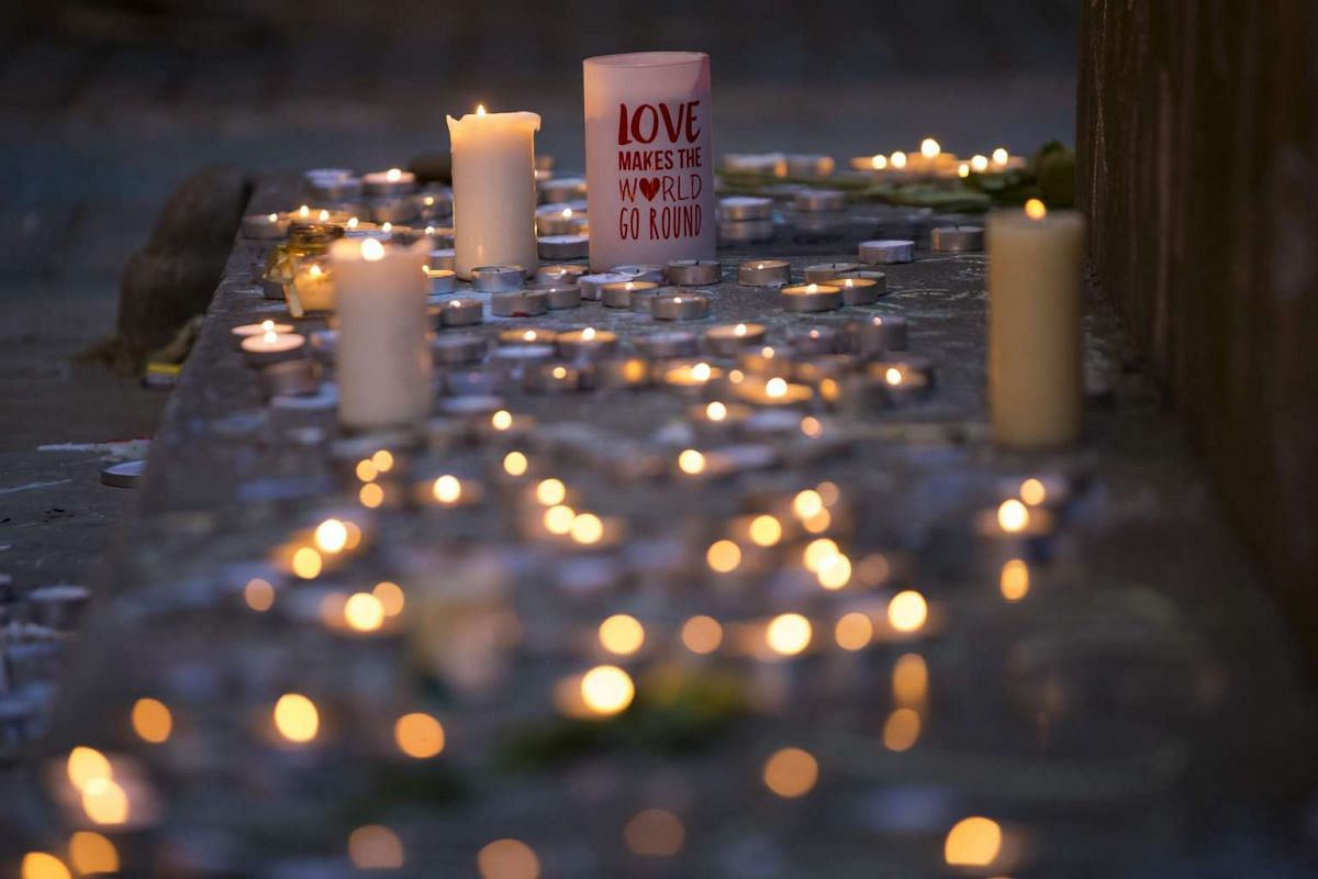 Memorial candles are pictured before a vigil in St Ann's Square in Manchester, Britain, on May 29, 2017.
