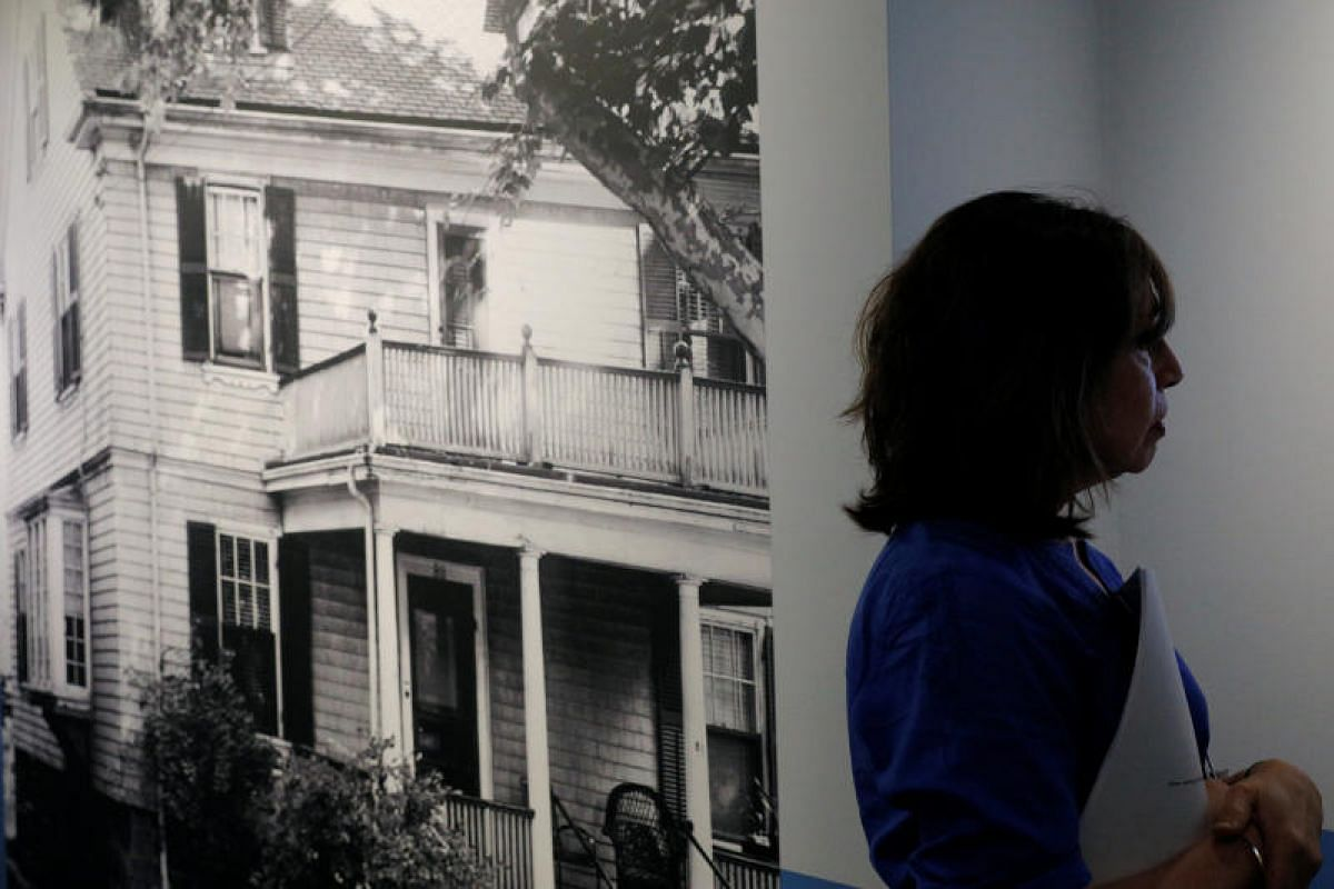 A photo of the house where John F. Kennedy was born, displayed as part of the JFK 100: Milestones & Mementos exhibition at the John F. Kennedy Presidential Library in Boston, Massachusetts, marking the 100th anniversary of the late President's birth.