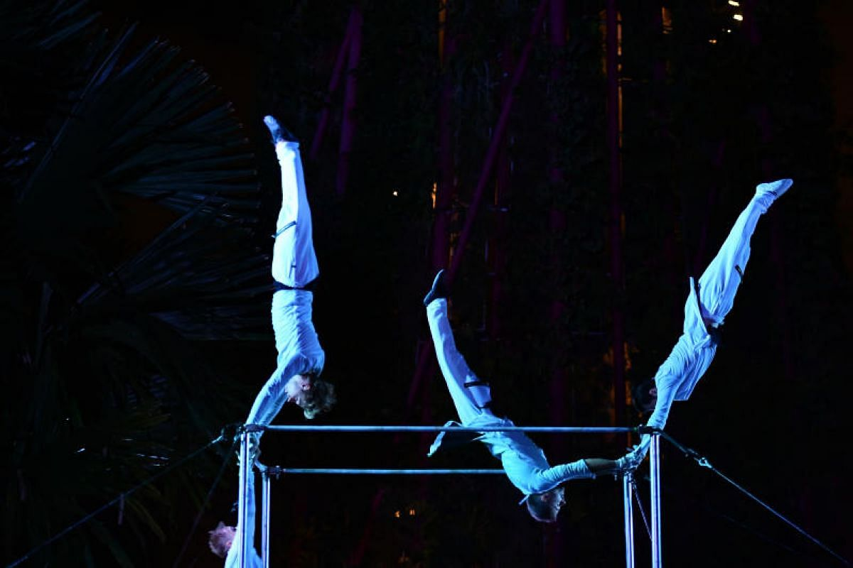 Get wowed by acrobats twirling and spinning on high bars.