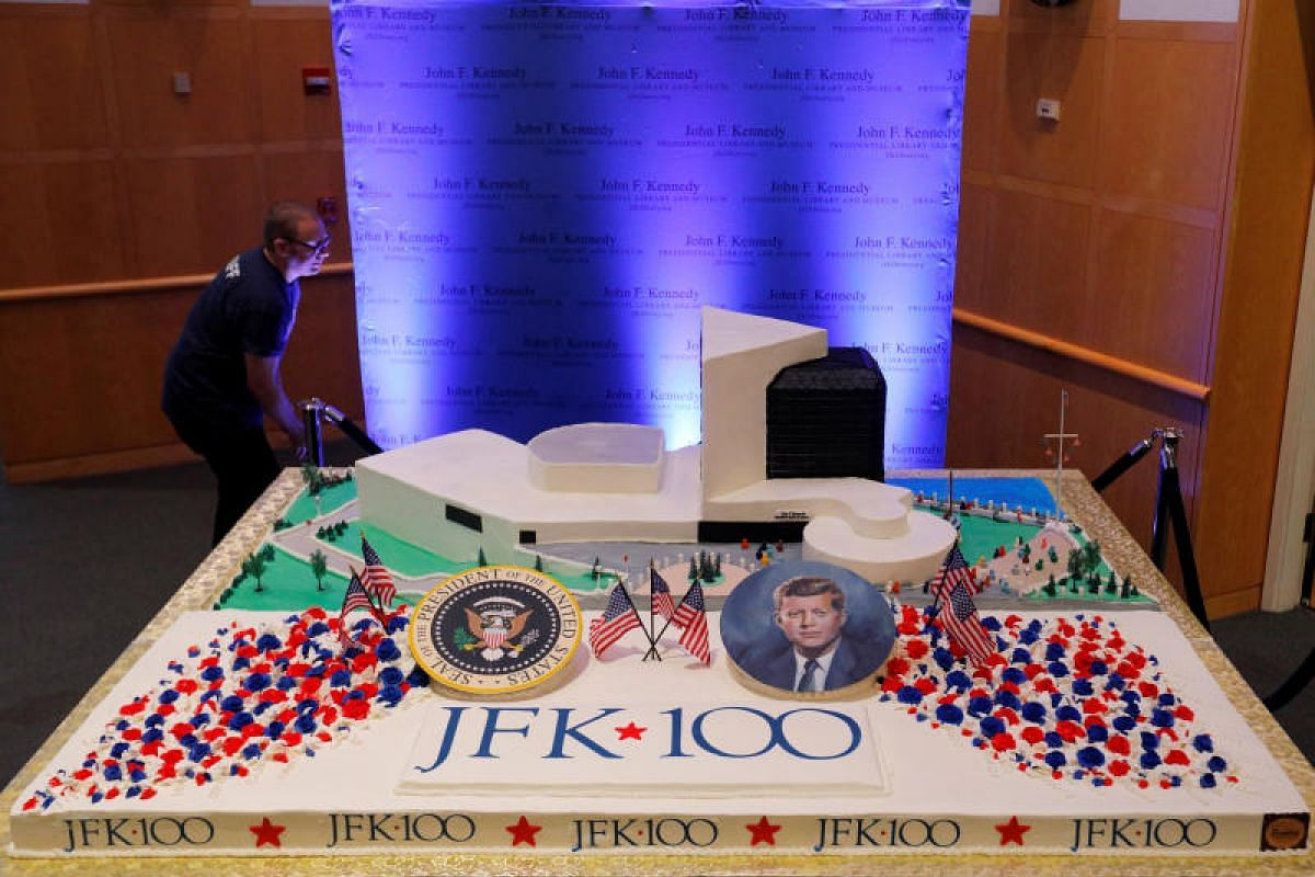 A 360kg cake at the John F. Kennedy Presidential Library in Boston, Massachusetts, to commemorate the 100th anniversary of the birth of the 35th president of the United States.